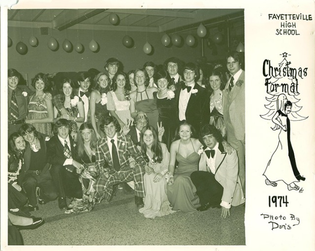 Photo of group at Christmas formal in 1974