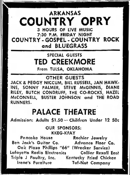 Advertisement for Arkansas Country Opry