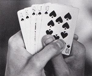 A royal flush makes a big hand for the study hall clan who play poker. It's also a good hand when playing Spades or Hearts.