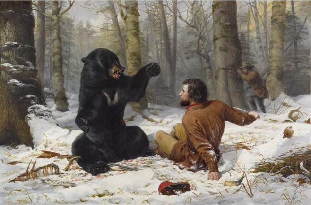 Painting of a bear and fallen hunter.