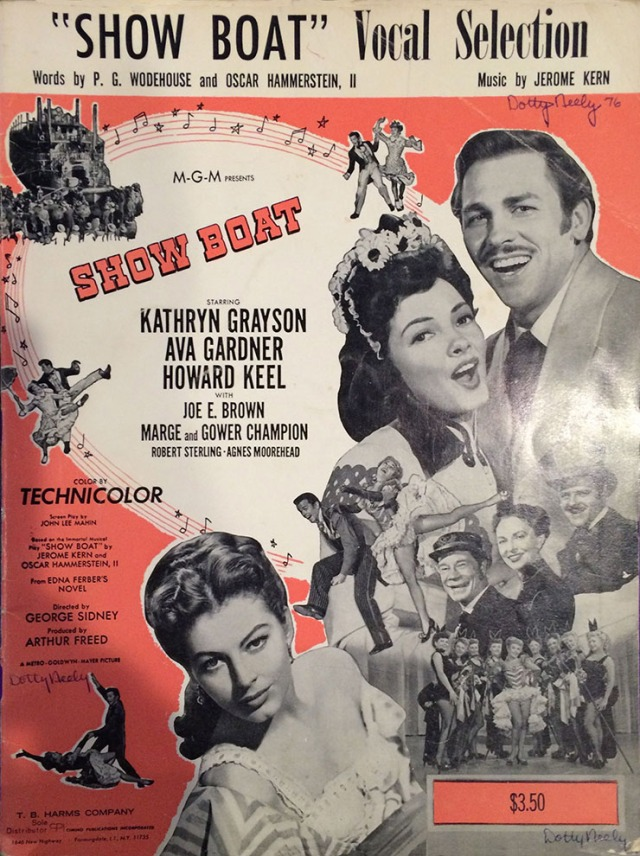 "The senior class play for 1976 was the musical ""Showboat."" The cover of the original musical score shows Kathryn Grayson and Howard Keel upper right and Ava Gardner lower. Courtesy of Dot Neely."